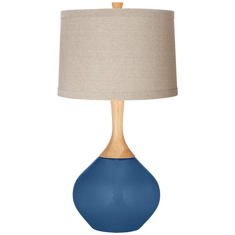 Regatta Blue Natural Linen Drum Shade Wexler Table Lamp