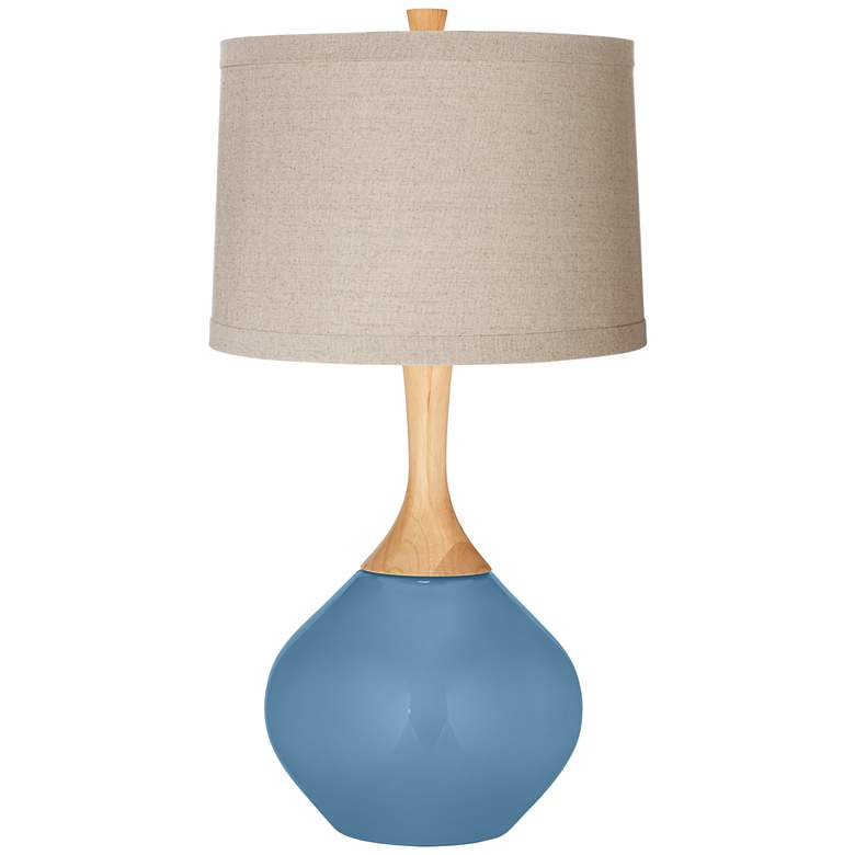 Secure Blue Natural Linen Drum Shade Wexler Table Lamp
