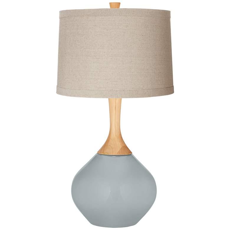 Uncertain Gray Natural Linen Drum Shade Wexler Table Lamp