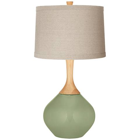 Majolica Green Natural Linen Drum Shade Wexler Table Lamp