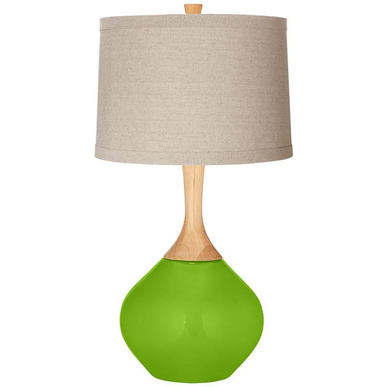 Neon Green Natural Linen Drum Shade Wexler Table Lamp