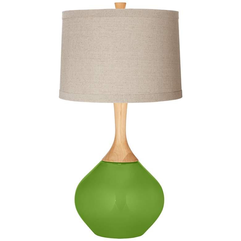 Rosemary Green Natural Linen Drum Shade Wexler Table Lamp