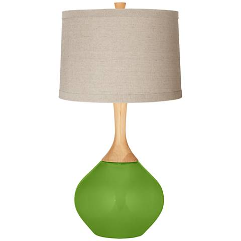 Rosemary Green Natural Linen Drum Shade Wexler Table Lamp