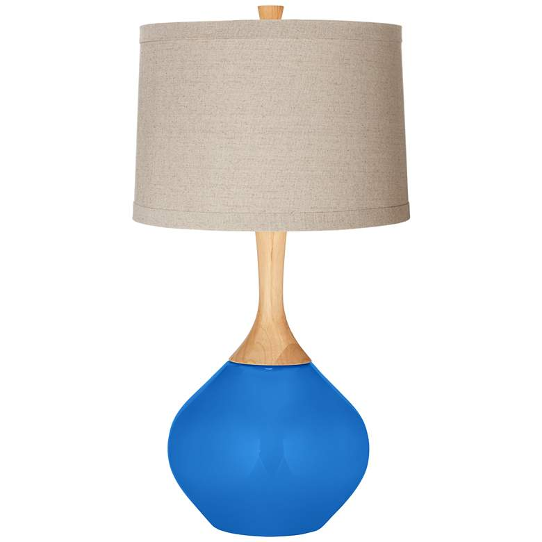 Royal Blue Natural Linen Drum Shade Wexler Table Lamp