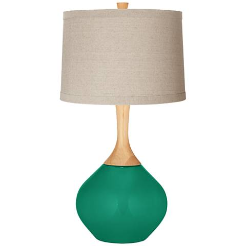 Leaf Natural Linen Drum Shade Wexler Table Lamp
