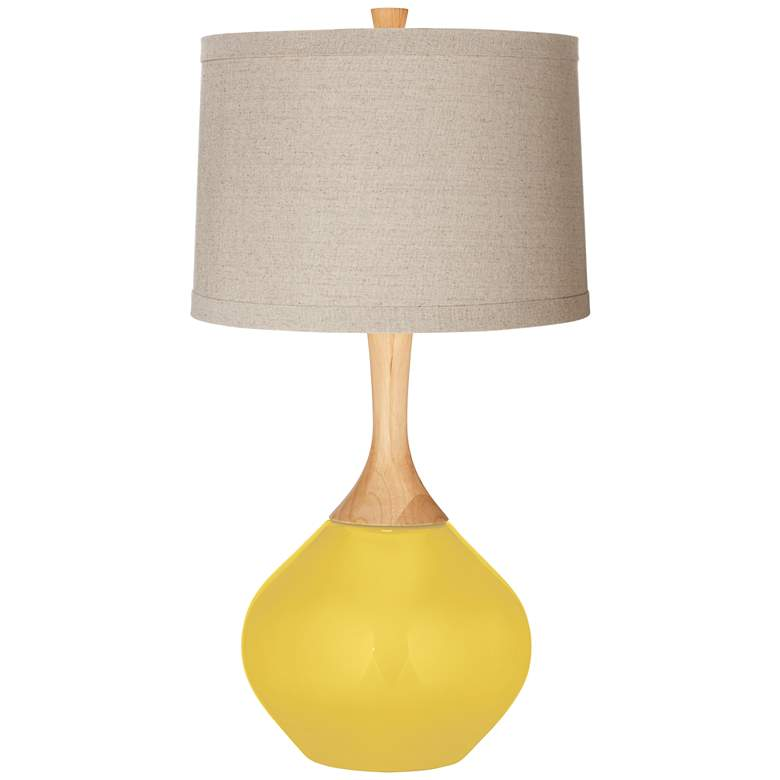 Lemon Zest Natural Linen Drum Shade Wexler Table