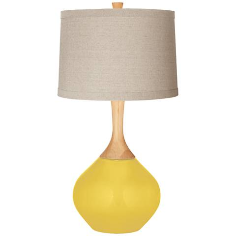 Lemon Zest Natural Linen Drum Shade Wexler Table Lamp
