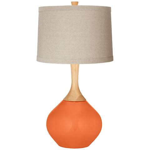 Nectarine Natural Linen Drum Shade Wexler Table Lamp