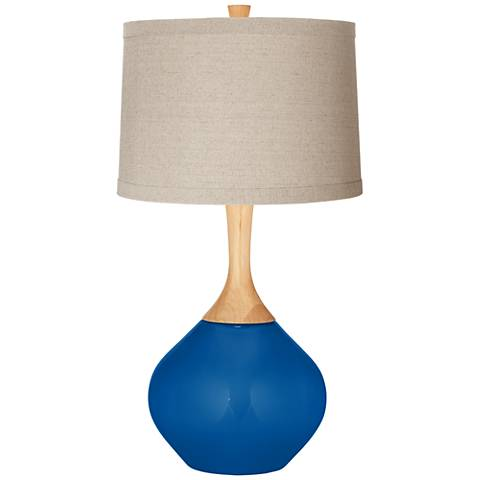 Hyper Blue Natural Linen Drum Shade Wexler Table Lamp