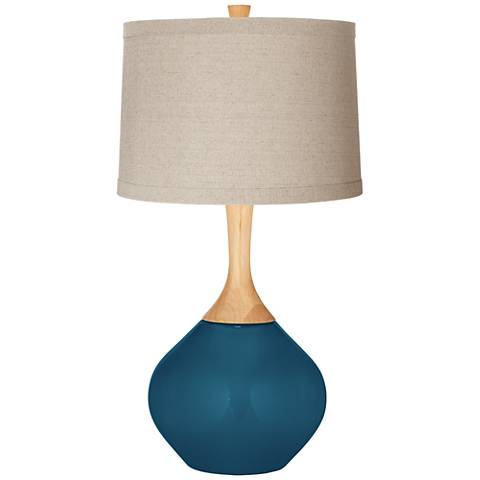 Oceanside Natural Linen Drum Shade Wexler Table Lamp