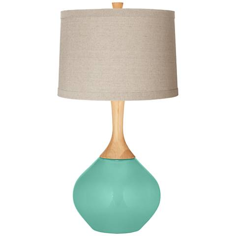Larchmere Natural Linen Drum Shade Wexler Table Lamp