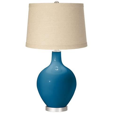 Mykonos Blue Burlap Drum Shade Ovo Table Lamp