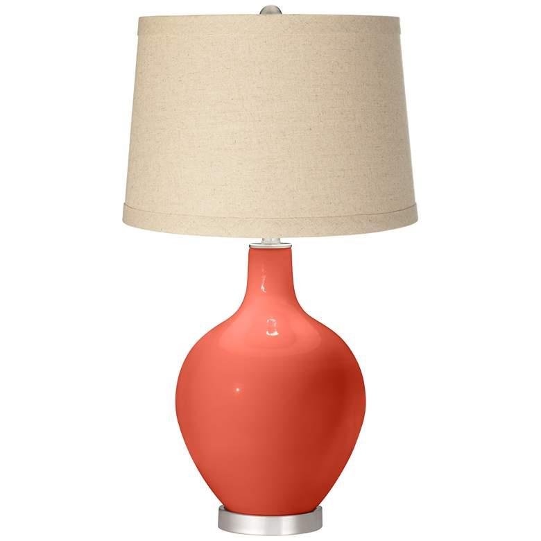 Koi Burlap Drum Shade Ovo Table Lamp by