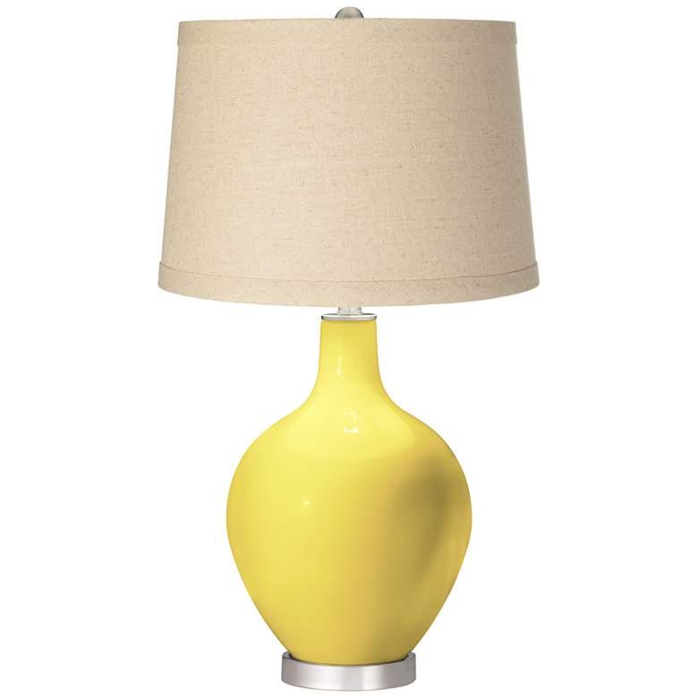 Lemon Twist Burlap Drum Shade Ovo Table Lamp