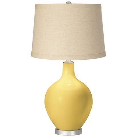Daffodil Burlap Drum Shade Ovo Table Lamp