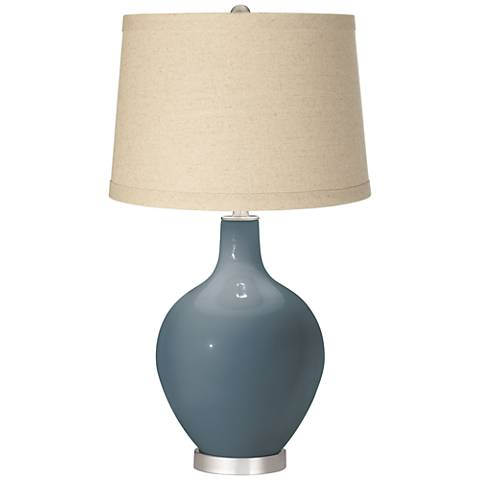 Smoky Blue Burlap Drum Shade Ovo Table Lamp