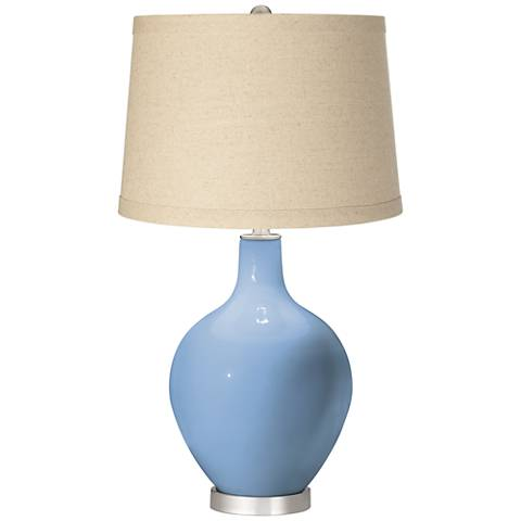 Placid Blue Burlap Drum Shade Ovo Table Lamp