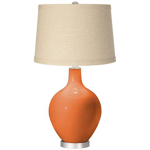 Celosia Orange Burlap Drum Shade Ovo Table Lamp