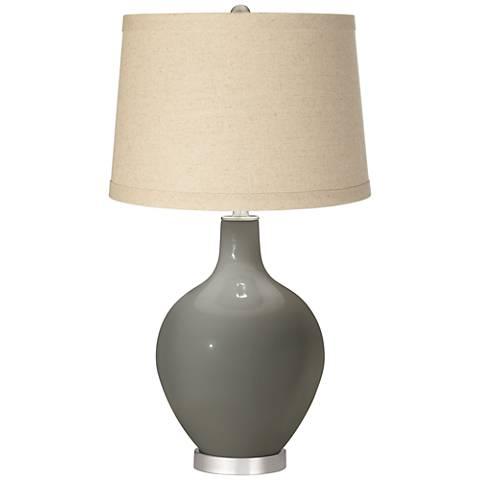 Gauntlet Gray Burlap Drum Shade Ovo Table Lamp