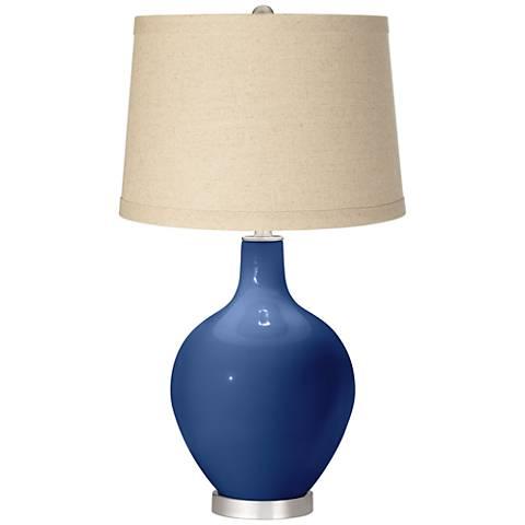 Monaco Blue Burlap Drum Shade Ovo Table Lamp