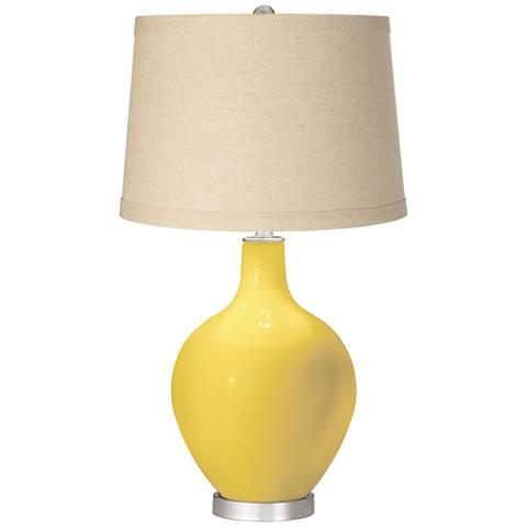 Lemon Zest Burlap Drum Shade Ovo Table Lamp