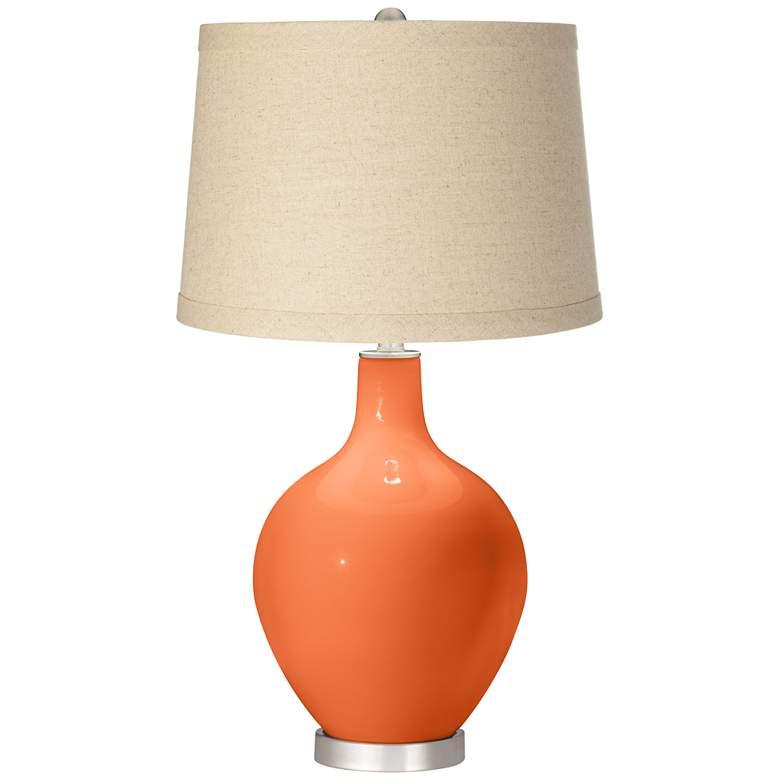 Nectarine Burlap Drum Shade Ovo Table Lamp