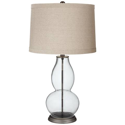 Clear Fillable Linen Drum Shade Double Gourd Table Lamp