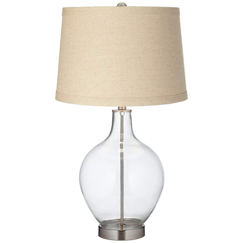 Clear Glass Fillable Burlap Drum Shade Ovo Table Lamp