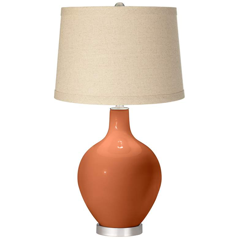 Robust Orange Burlap Drum Shade Ovo Table Lamp