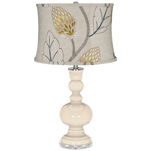 Steamed Milk Apothecary Table Lamp w/ Beige Thistles Shade