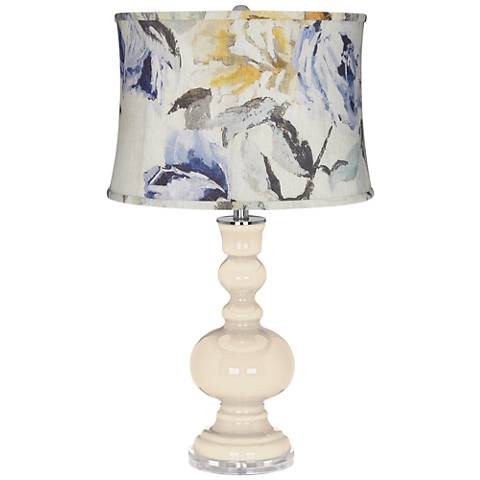 Steamed Milk Apothecary Table Lamp w/ Gray Toned Floral Shade