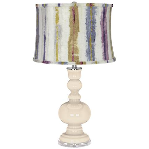 Steamed Milk Apothecary Table Lamp w/ Purple Striped Shade