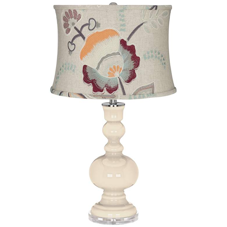 Steamed Milk Apothecary Table Lamp w/ Beige Floral Shade