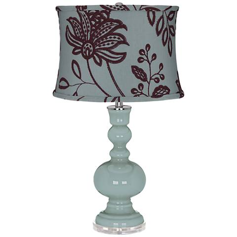Aqua-Sphere Apothecary Table Lamp w/ Wine Flowers Shade