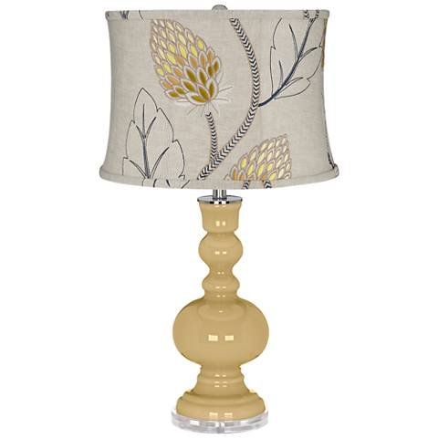 Humble Gold Apothecary Table Lamp With Beige Thistles Shade