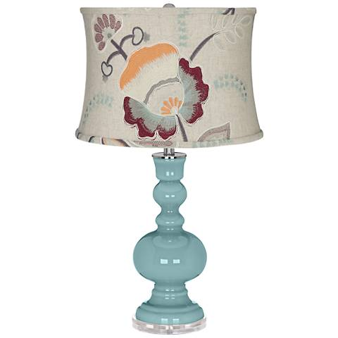Raindrop Apothecary Table Lamp w/ Beige Floral Shade