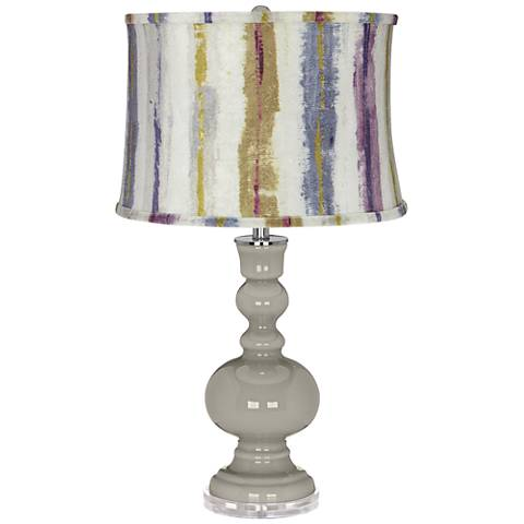 Requisite Gray Apothecary Table Lamp w/ Purple Striped Shade