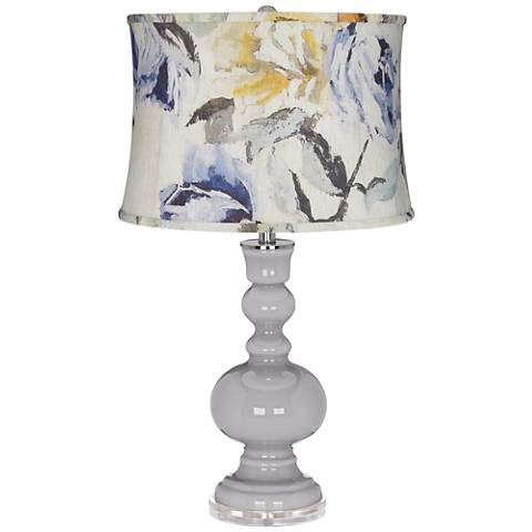Swanky Gray Apothecary Table Lamp w/ Gray Toned Floral Shade