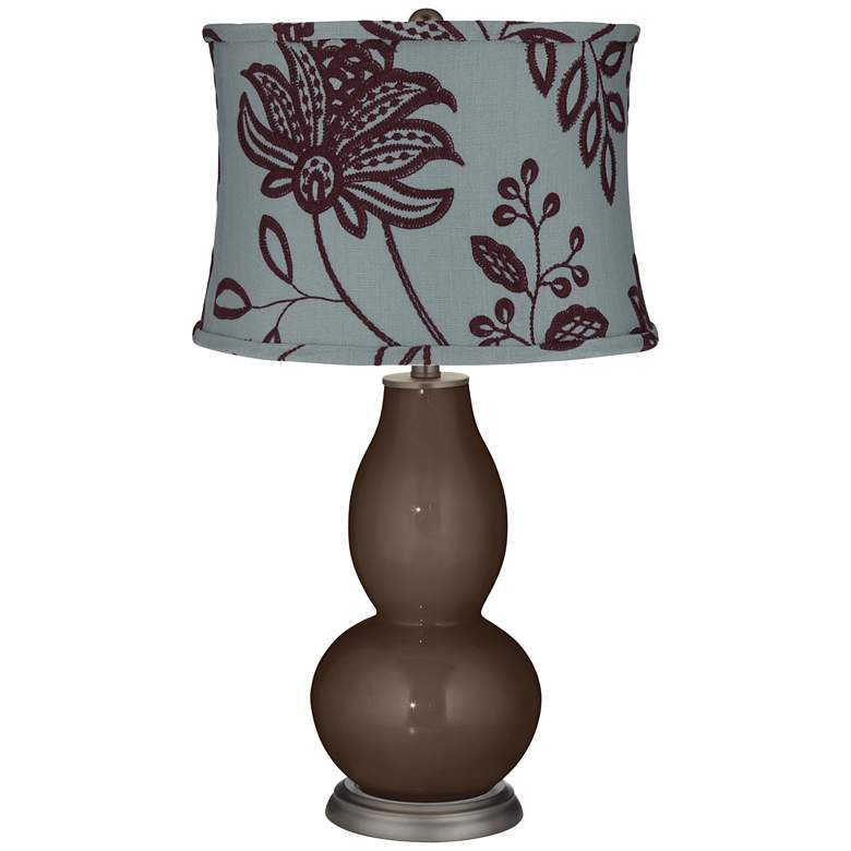 Carafe Double Gourd Table Lamp w/ Wine Flowers Shade