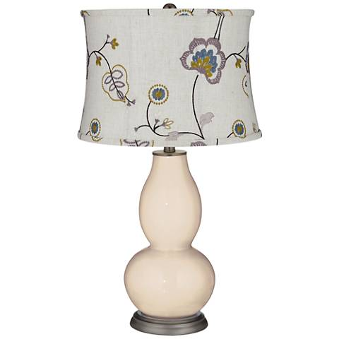 Steamed Milk Double Gourd Table Lamp w/ Gray Stitched Shade