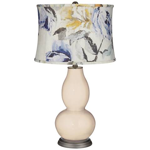 Steamed Milk Double Gourd Table Lamp w/ Gray Toned Floral Shade