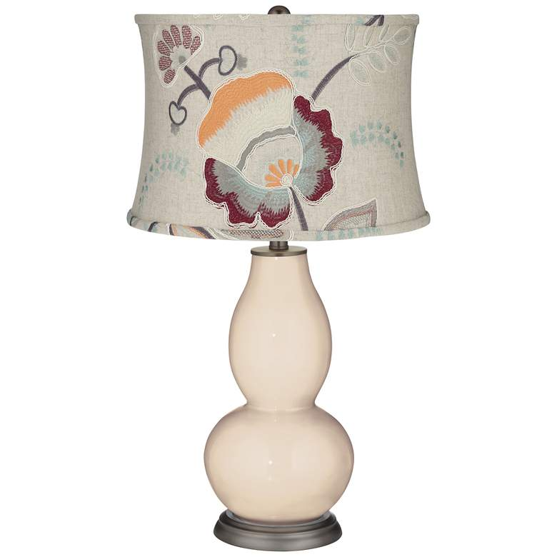 Steamed Milk Double Gourd Table Lamp w/ Beige Floral Shade