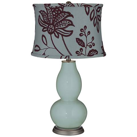 Aqua-Sphere Double Gourd Table Lamp w/ Wine Flowers Shade