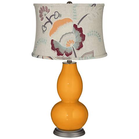 Carnival Double Gourd Table Lamp w/ Beige Floral Shade