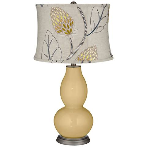 Humble Gold Beige Thistles Shade Double Gourd Table Lamp