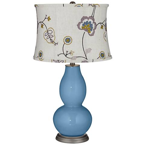 Secure Blue Double Gourd Table Lamp w/ Gray Stitched Floral Shade