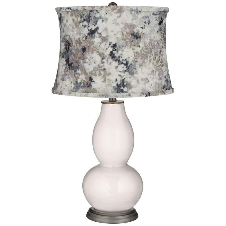 Smart White Double Gourd Table Lamp w/ Gray Paint Shade