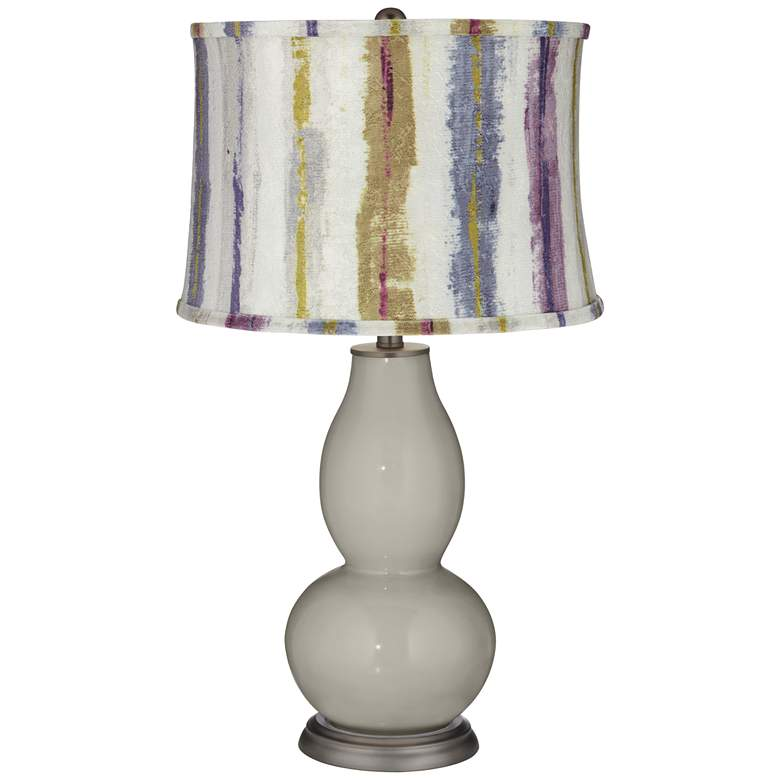 Requisite Gray Double Gourd Table Lamp w/ Purple Striped Shade
