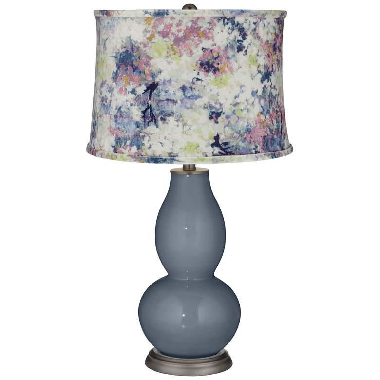 Granite Peak Double Gourd Table Lamp w/ Multi-Color Paint Shade