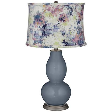 Granite Peak Double Gourd Table Lamp w/ Multi-Color Paint Shade